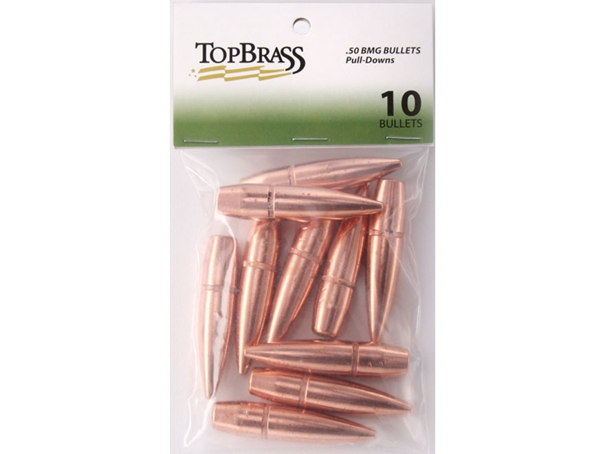 Top Brass Pull Down Bullets 50 BMG (510 Diameter) 647 Grain Full Metal Jacket Boat Tail