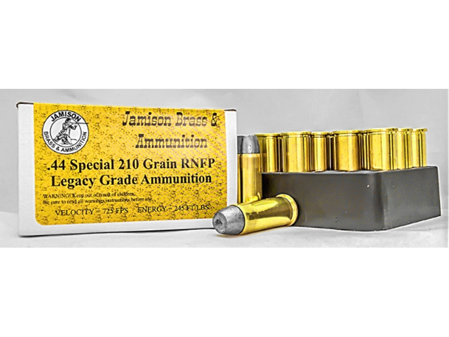 Jamison Ammunition 44 Special 210 Grain Round Nose Flat Point Box of 20