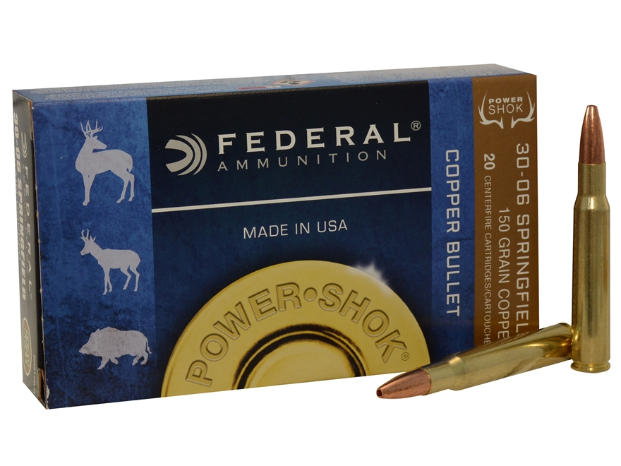 Federal Power-Shok Ammunition 30-06 Springfield 150 Grain Copper Hollow Point Lead-Free