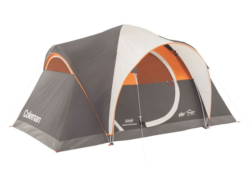 "Coleman Yarborough Pass Fast Pitch 6 Peron Dome Tent 144"" x 84"" x 68"" Polyester Gray an..."