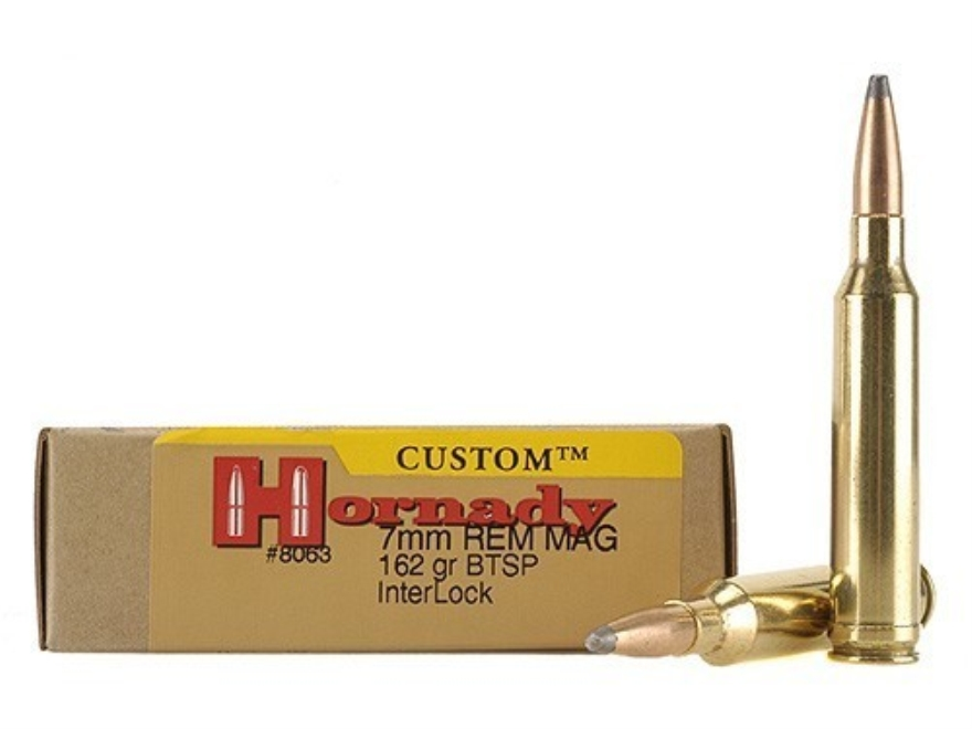 Hornady Custom Ammunition 7mm Remington Magnum 162 Grain InterLock Spire Point Boat Tai...