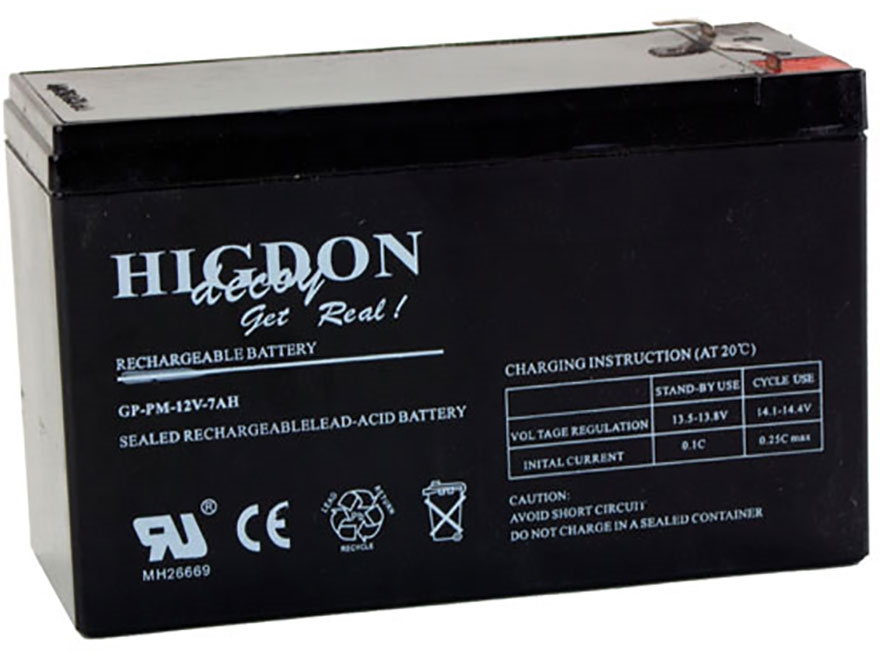 Higdon Motion Decoy Rechargeable Battery 12 Volt Lead Acid 7 mAH
