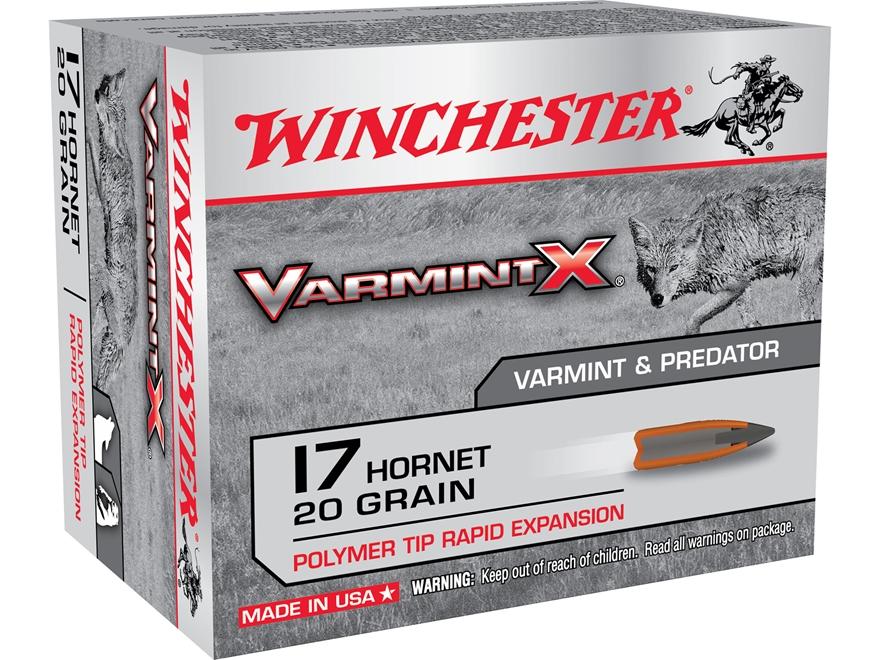 Winchester Varmint X Ammunition 17 Hornet 20 Grain Polymer Tip