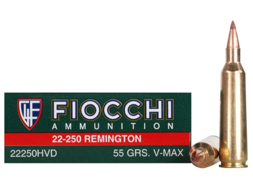 Fiocchi Extrema Ammunition 22-250 Remington 55 Grain Hornady V-Max Box of 20