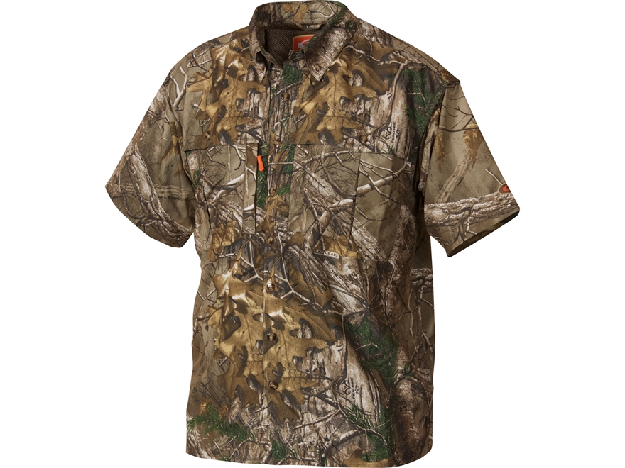 Drake Men's Non-Typical Dura-Lite Scent Control Button-Up Shirt Short Sleeve Polyester