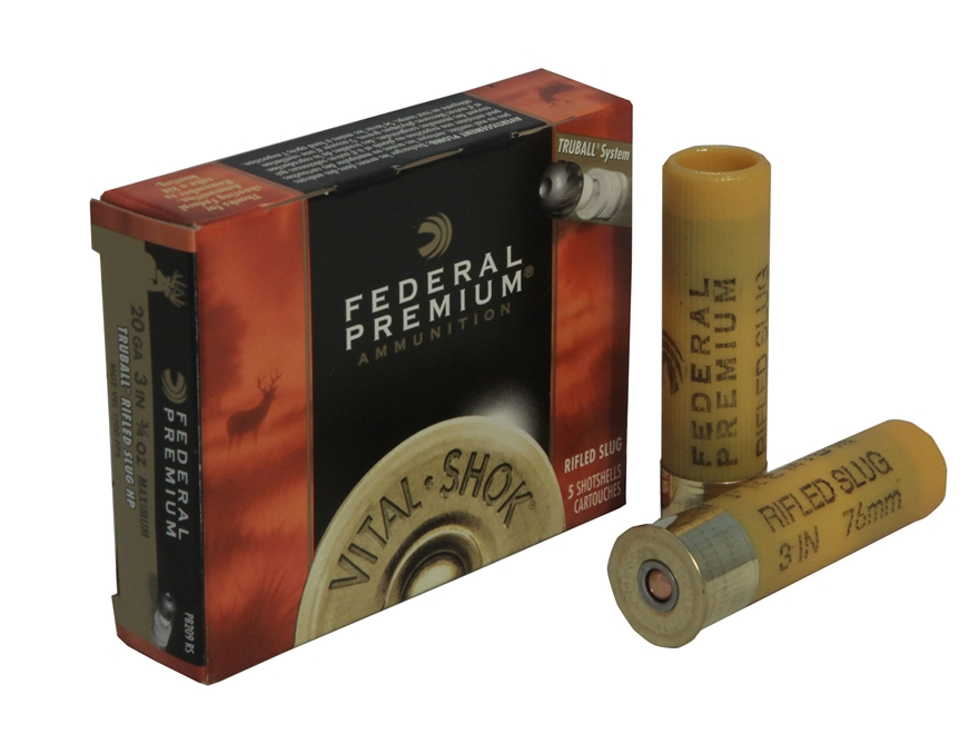 "Federal Premium Vital-Shok Ammunition 20 Gauge 3"" 1 oz TruBall Hollow Point Rifled Slug..."