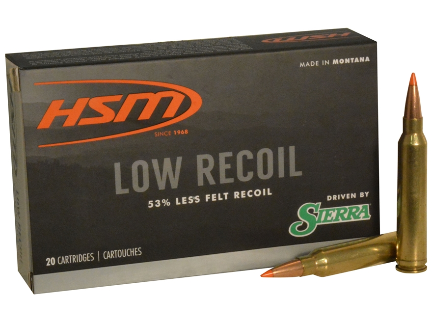 HSM Low Recoil Ammunition 300 Winchester Magnum 150 Grain Sierra Tipped Spitzer Boat Ta...