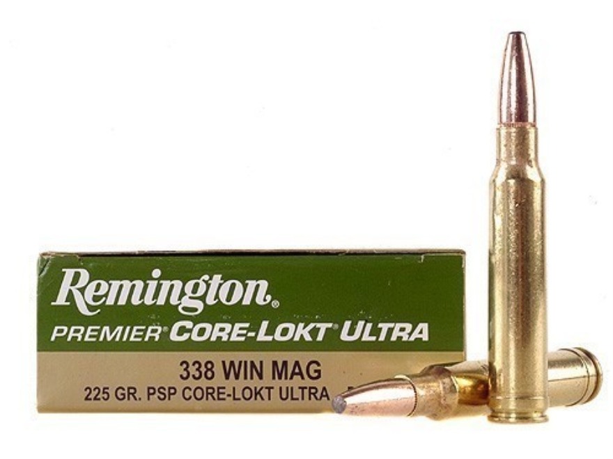 Remington Premier Ammunition 338 Winchester Magnum 225 Grain Pointed Soft Point Core-Lo...