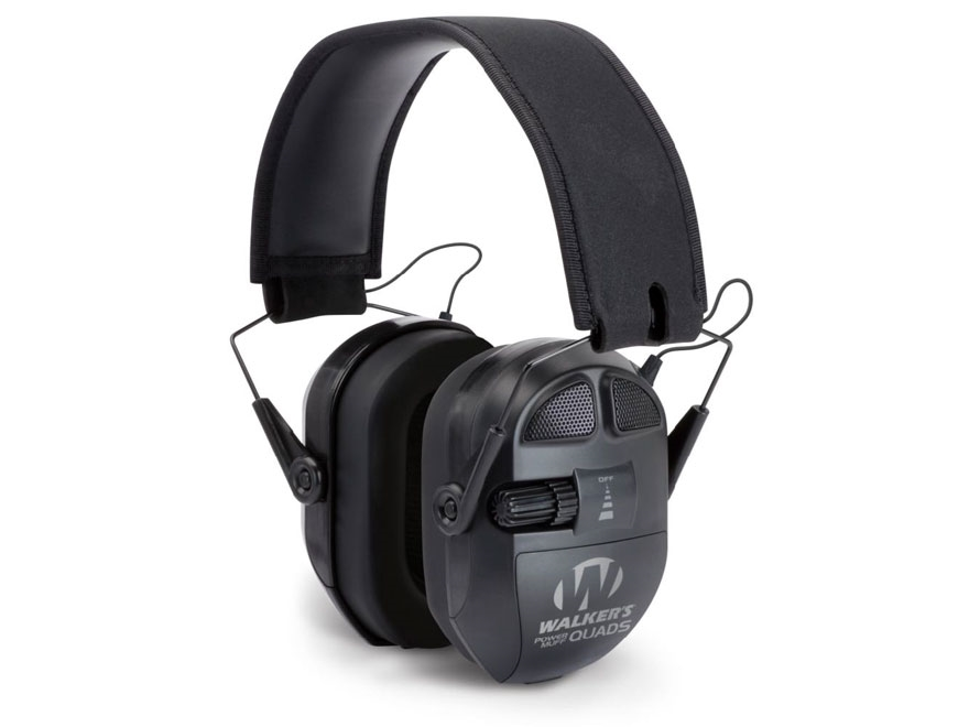 Walker's Ultimate Power Muff Quads Electronic Earmuffs (NRR 26dB) Black