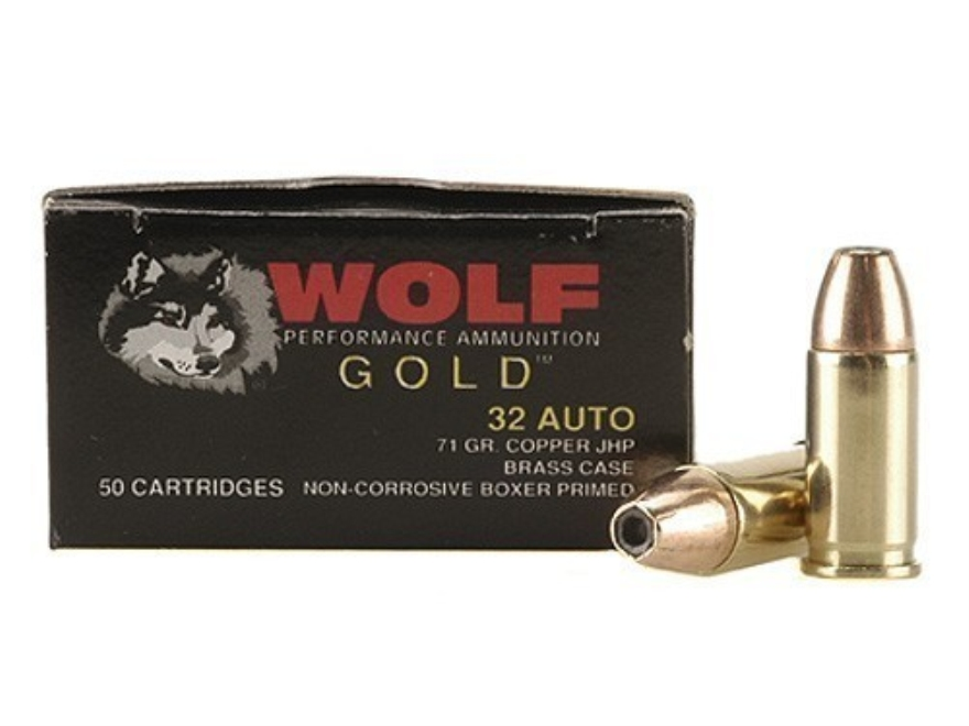 Wolf Gold Ammunition 32 ACP 71 Grain Jacketed Hollow Point Box of 50