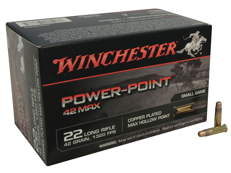 Winchester 42 Max Ammunition 22 Long Rifle 42 Grain Power-Point Box of 500 (10 Boxes of...