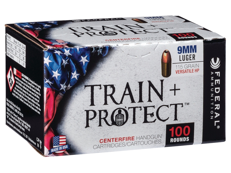 Federal Train + Protect Ammunition 9mm Luger 115 Grain Versatile Hollow Point (Value Pack)