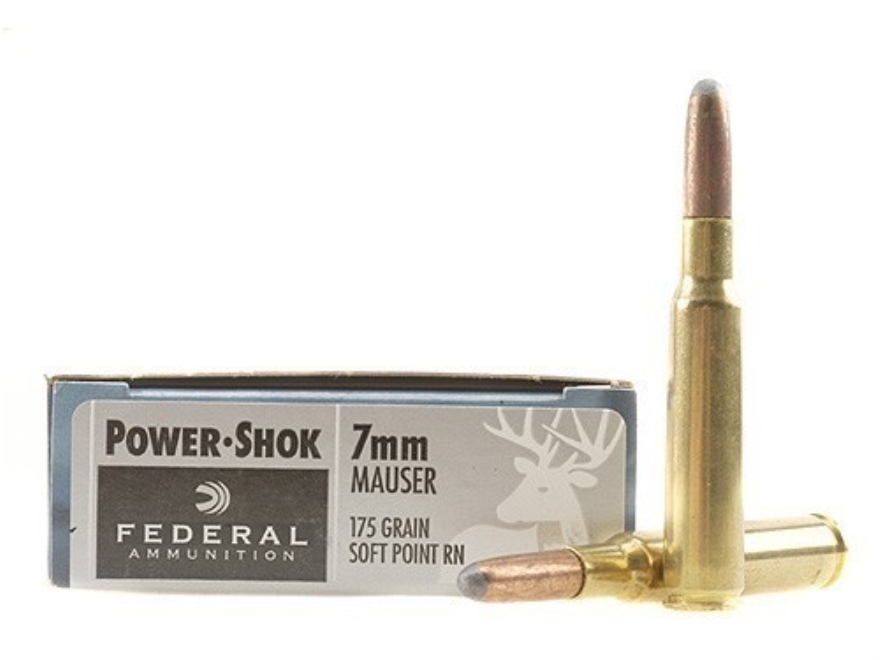 Federal Power-Shok Ammunition 7x57mm Mauser (7mm Mauser) 175 Grain Round Nose Soft Poin...
