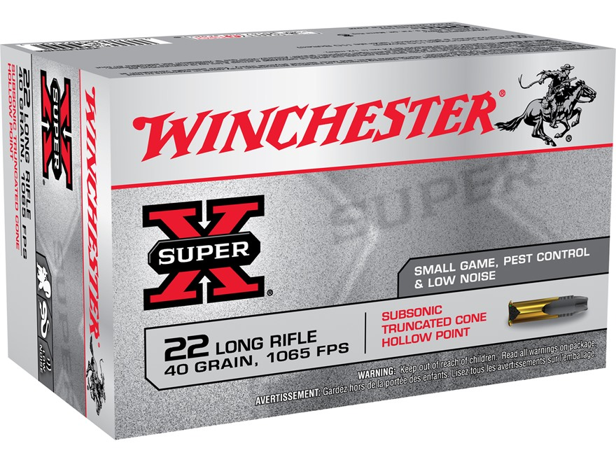 Winchester Super-X Ammunition Subsonic 22 Long Rifle 40 Grain Lead Truncated Cone Hollo...