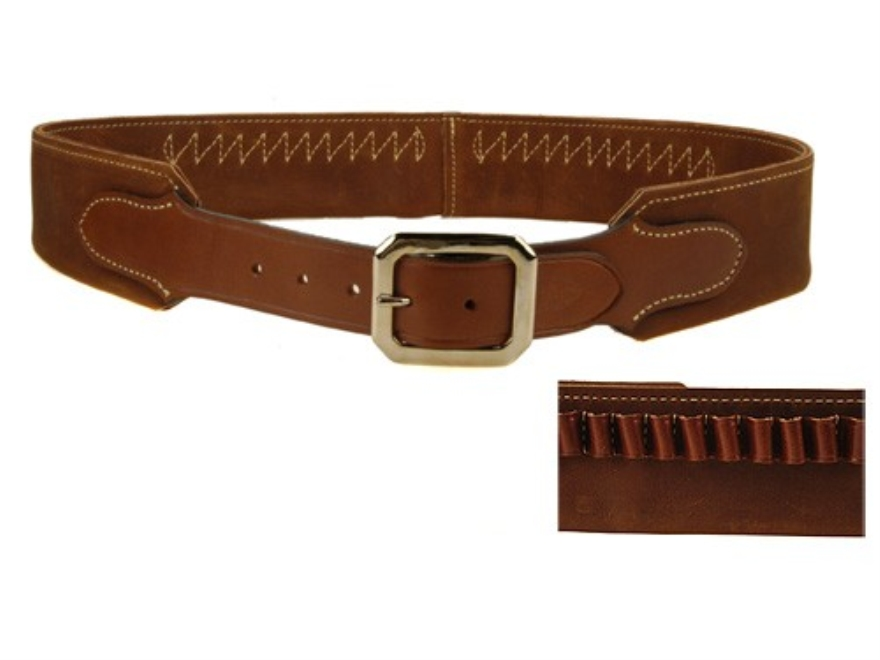 "Hunter Cartridge Belt ""Duke"" Style 45 Caliber 25 Loops Leather Chestnut Large"