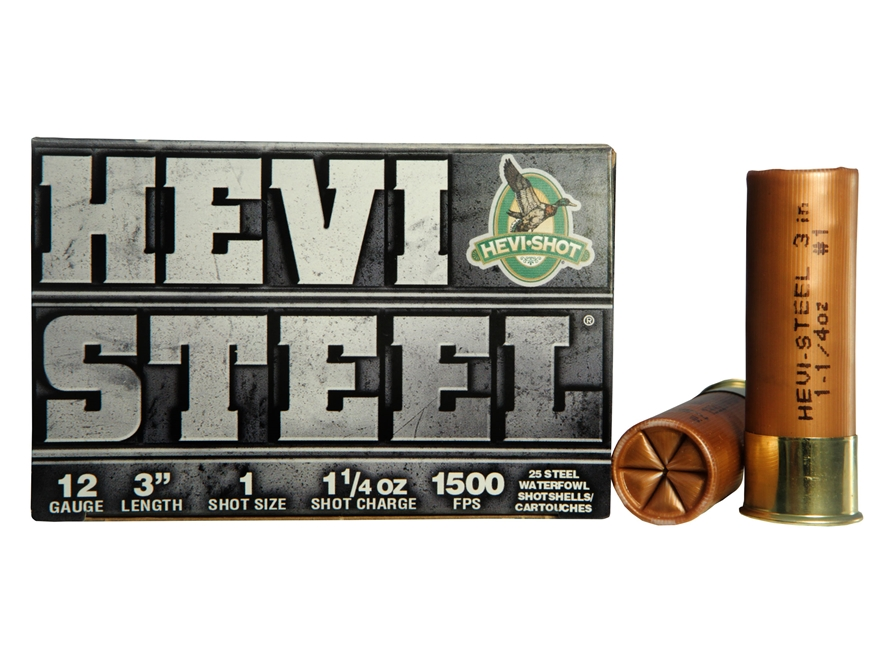 "Hevi-Shot Hevi-Steel Waterfowl Ammunition 12 Gauge 3"" 1-1/4 oz #1 Non-Toxic Shot"