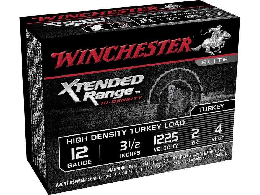 "Winchester Xtended Range Turkey Ammunition 12 Gauge 3-1/2"" 2 oz #4 Hi-Density Shot Box ..."