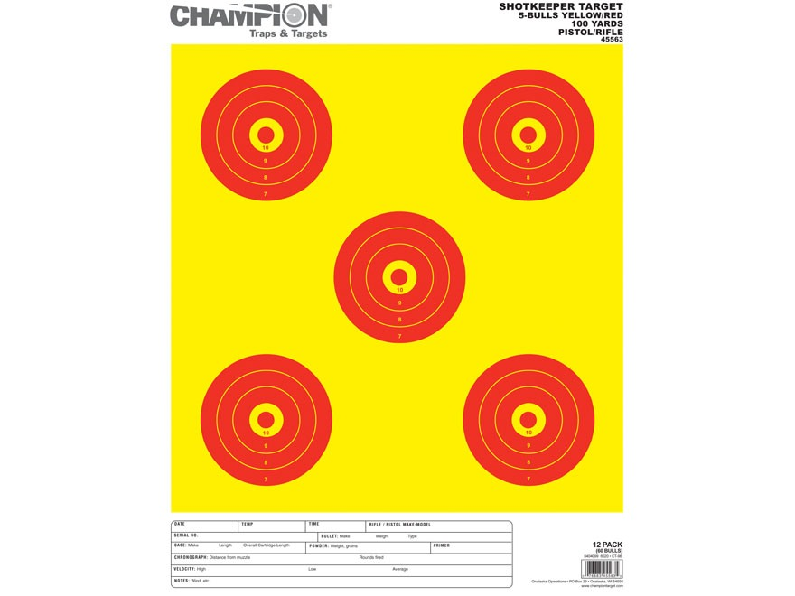 "Champion ShotKeeper 5 Large Bullseye Targets 14"" x 18"" Paper Yellow/ Red Bull Pack of 12"