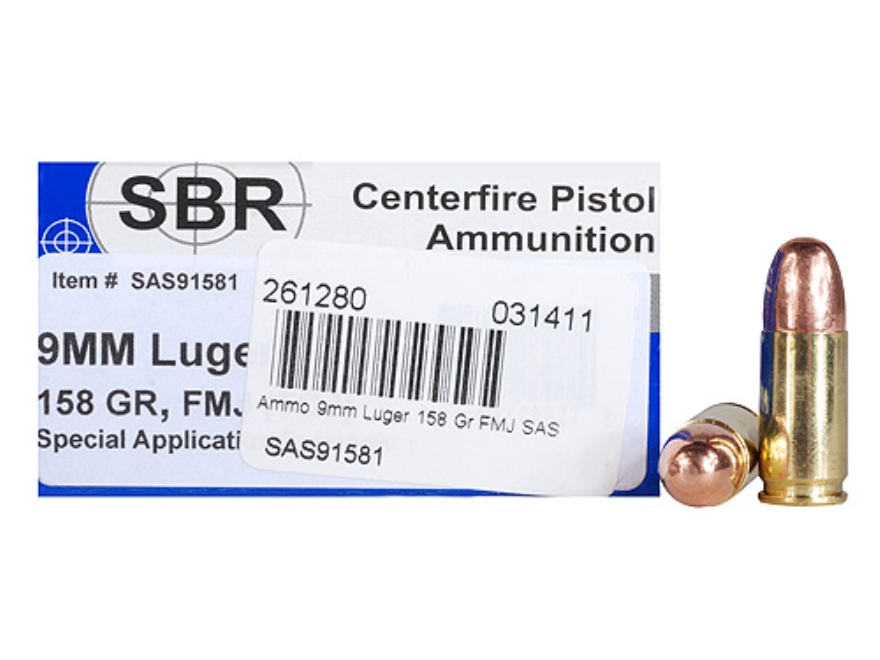SBR Special Application Subsonic (SAS) Ammunition 9mm Luger 158 Grain Full Metal Jacket...