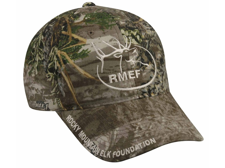 Rocky Mountain Elk Foundation RMEF Logo Cap Cotton Realtree Max-1 Camo