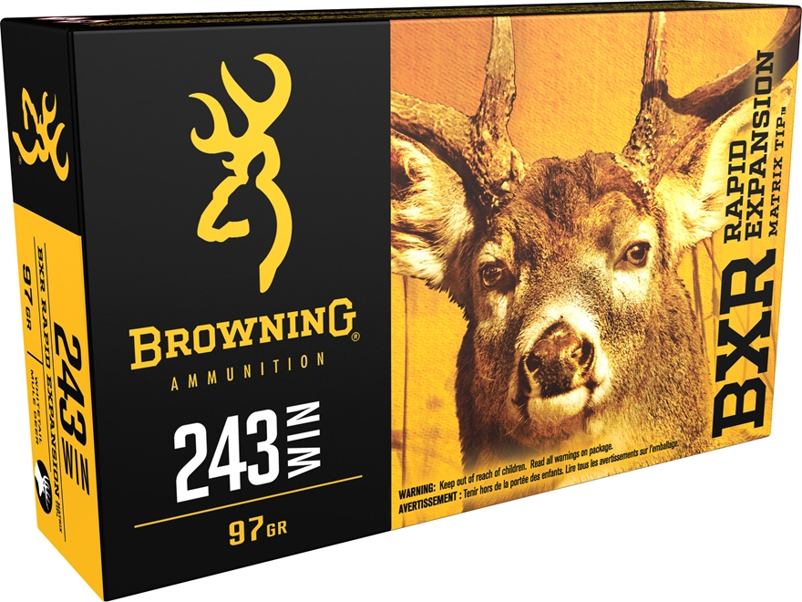 Browning BXR Rapid Expansion Ammunition 243 Winchester 97 Grain Matrix Tip