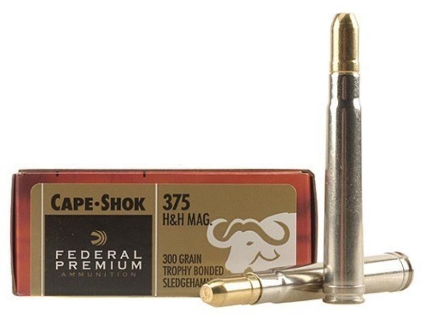 Federal Premium Cape-Shok Ammunition 375 H&H Magnum 300 Grain Speer Trophy Bonded Sledg...