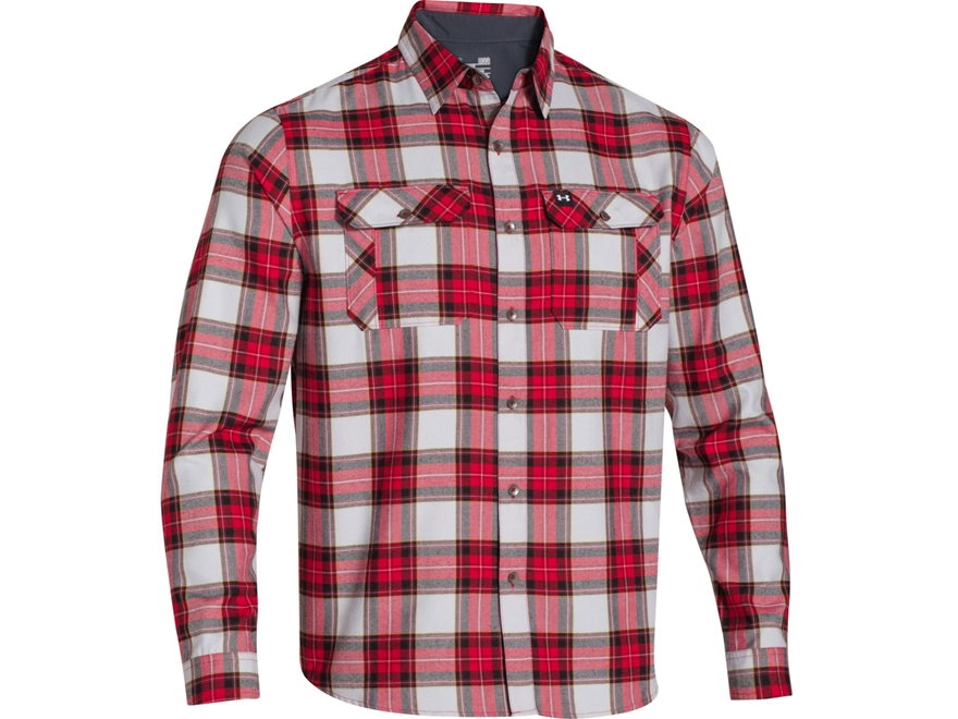 Under armour men 39 s borderland flannel shirt long upc for Cotton polyester flannel shirts