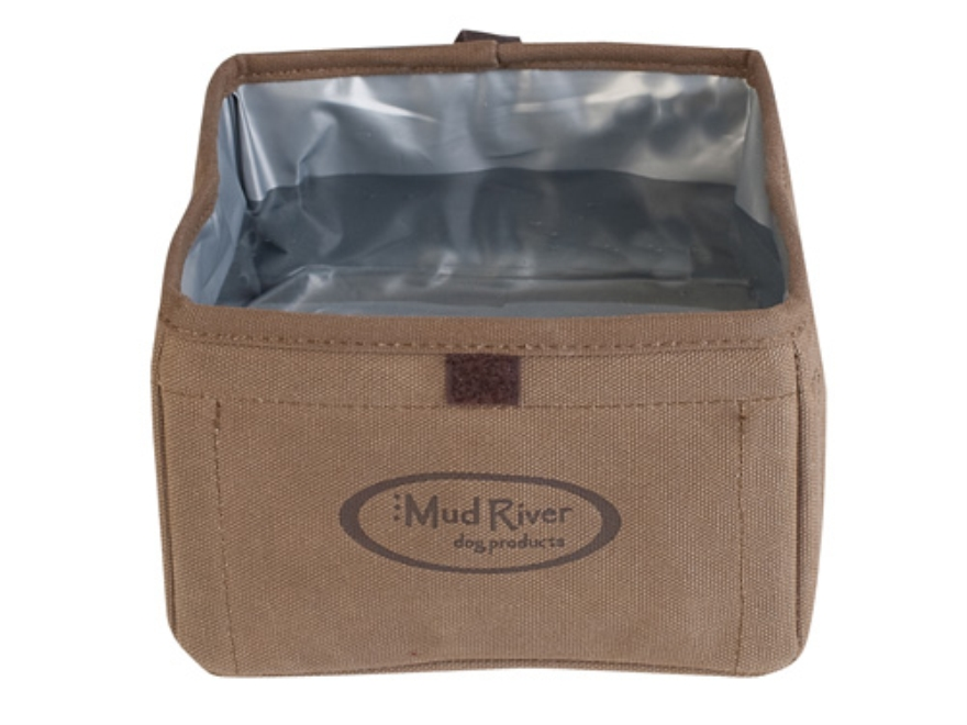 Mud River The Oasis Portable Dog Food and Water Bowl Waxed Canvas Brown