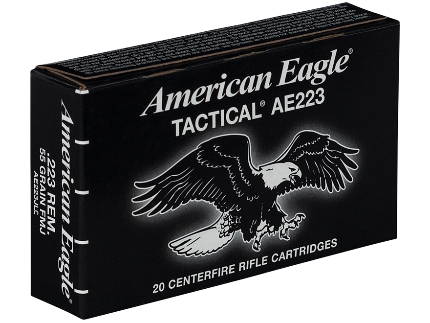 Federal American Eagle Tactical Ammunition 223 Remington 55 Grain Full Metal Jacket Boa...