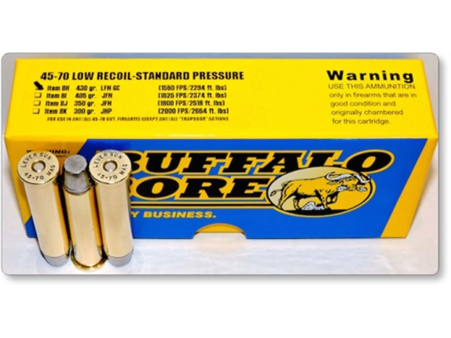 Buffalo Bore Ammunition 45-70 Government 430 Grain Hard Cast Long Flat Nose Low Recoil ...