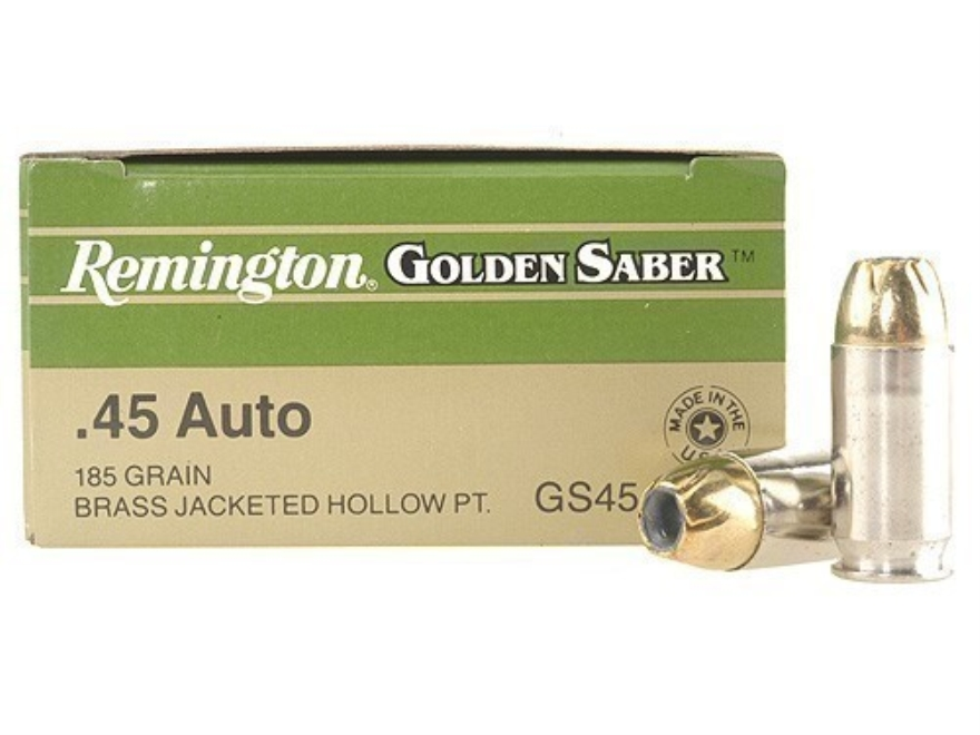 Remington Golden Saber Ammunition 45 ACP 185 Grain Brass Jacketed Hollow Point Box of 25