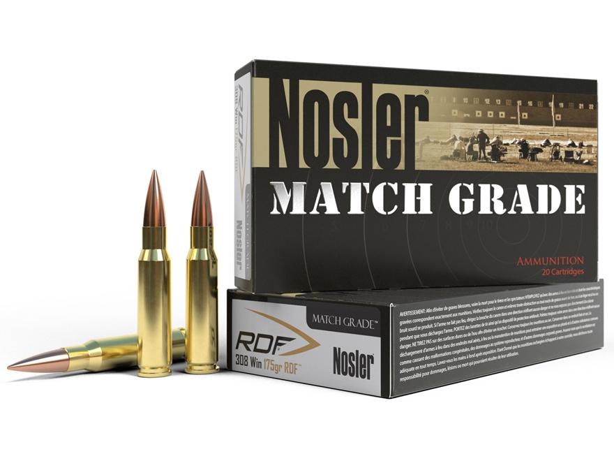 Nosler Match Grade Ammunition 308 Winchester 175 Grain RDF Hollow Point Boat Tail Box o...
