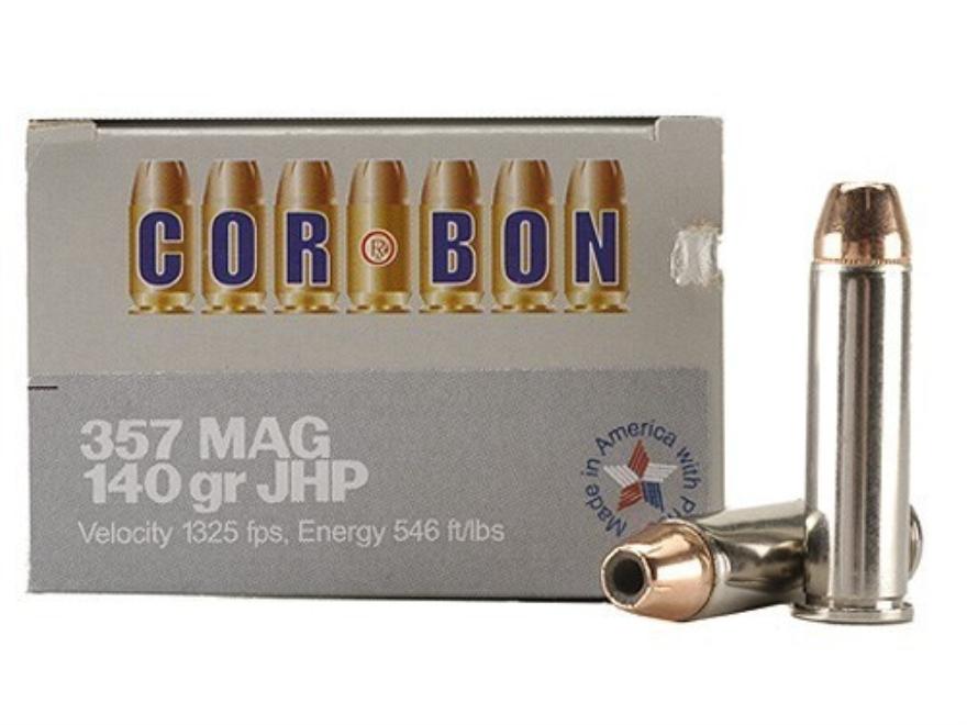 Cor-Bon Self-Defense Ammunition 357 Magnum 140 Grain Jacketed Hollow Point Box of 20