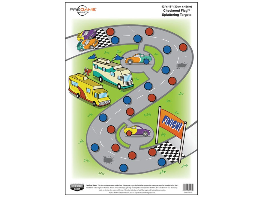 "Birchwood Casey PREGAME Checkered Flag Reactive Target 12"" x 18"" Pack of 8"