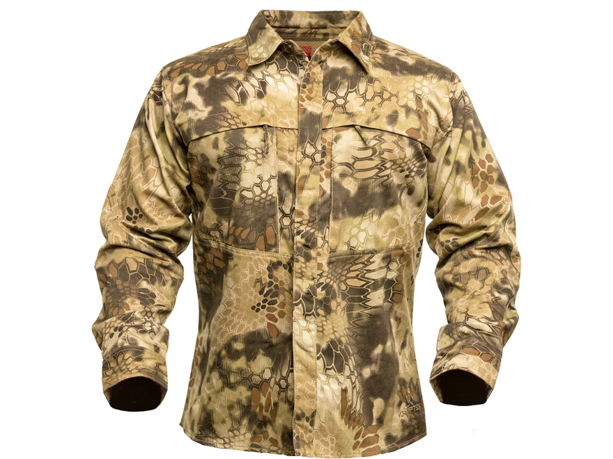 Kryptek Men's Stalker Button-Up Shirt Long Sleeve Cotton Highlander Camo