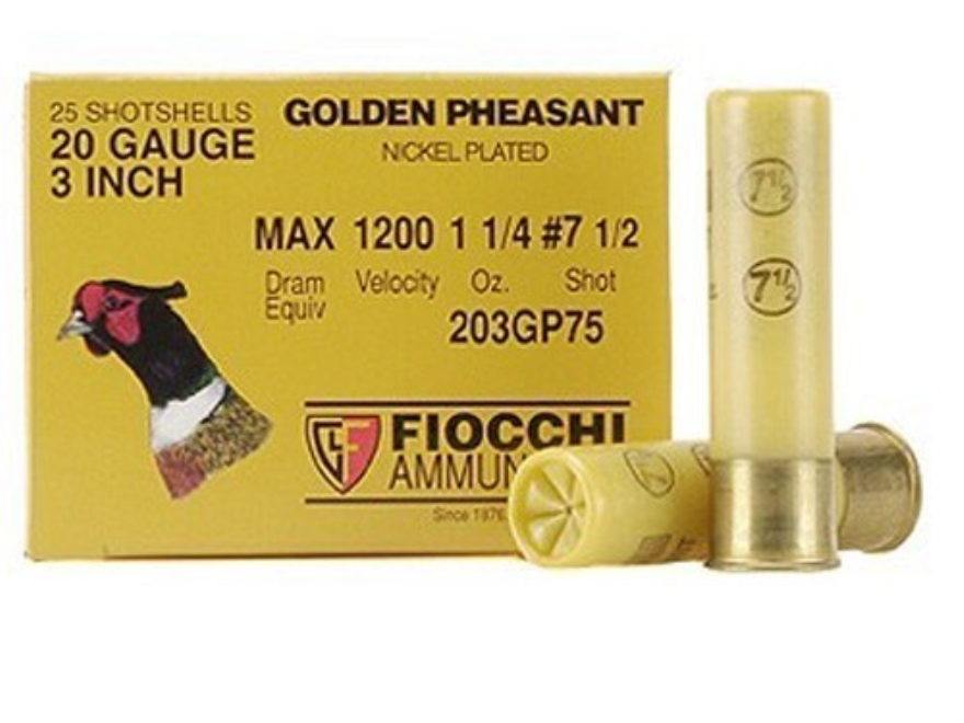 "Fiocchi Golden Pheasant Ammunition 20 Gauge 3"" 1-1/4 oz #7-1/2 Nickel Plated Shot Box o..."