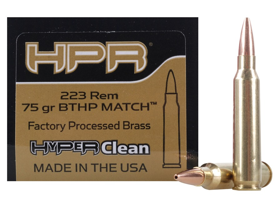 HPR HyperClean Remanufactured Ammunition 223 Remington 75 Grain Hollow Point Boat Tail ...