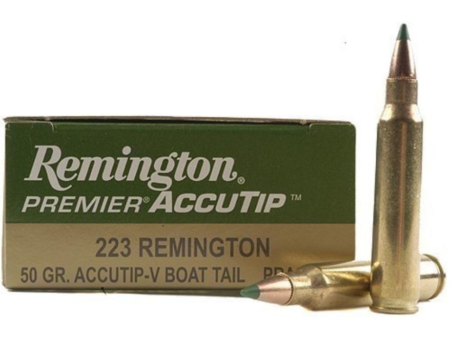 Remington Premier Varmint Ammunition 223 Remington 50 Grain AccuTip Boat Tail Box of 20