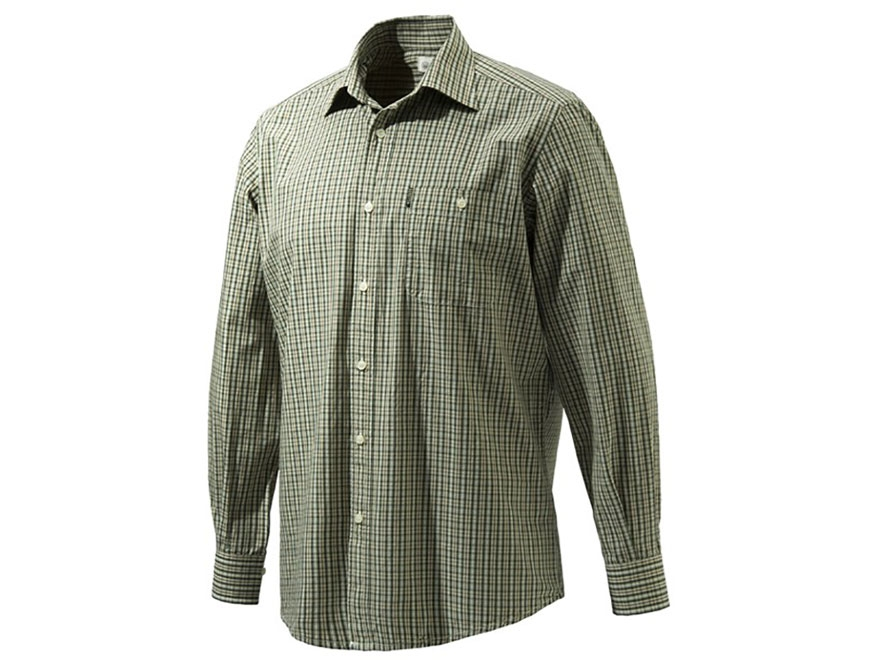 Beretta Men's Drip Dry Plain Collar Button-Up Shirt Long Sleeve Cotton