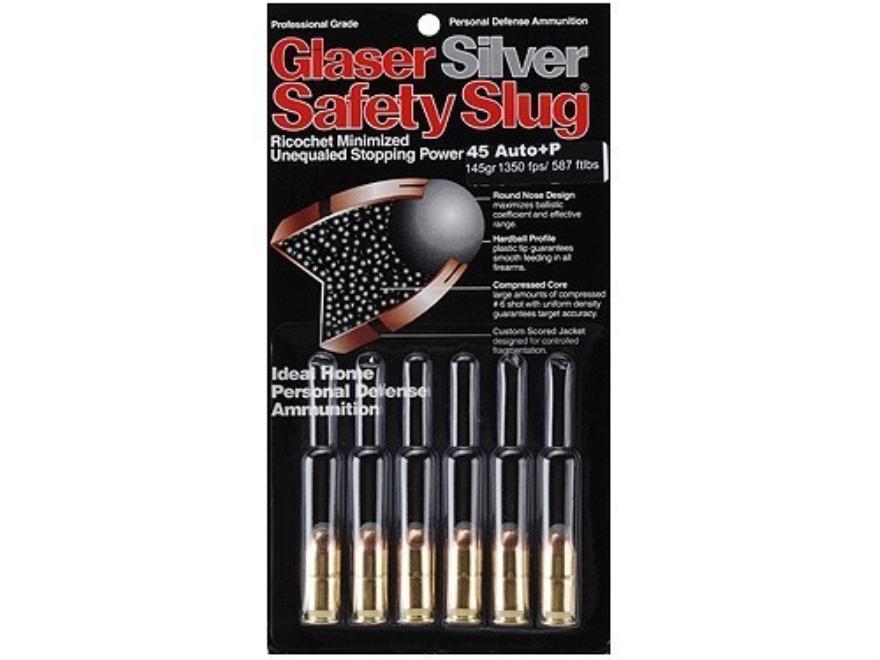 Glaser Silver Safety Slug Ammunition 45 ACP +P 145 Grain Safety Slug Package of 6