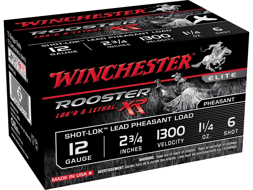 "Winchester Rooster XR Pheasant Ammunition 12 Gauge 2-3/4"" 1-1/4 oz #6 Copper Plated Shot"