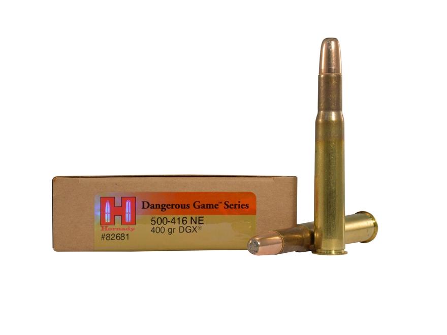 Hornady Dangerous Game Ammunition 500-416 Nitro Express 400 Grain DGX Flat Nose Expandi...