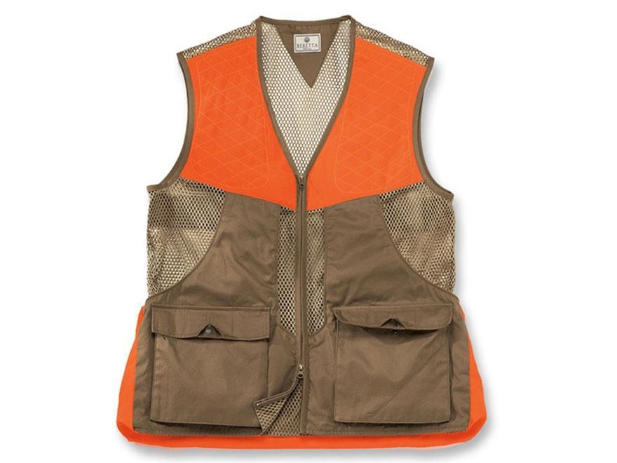 Beretta Men's Upland Vest Cotton/Mesh Light Brown/Blaze Orange XXXL