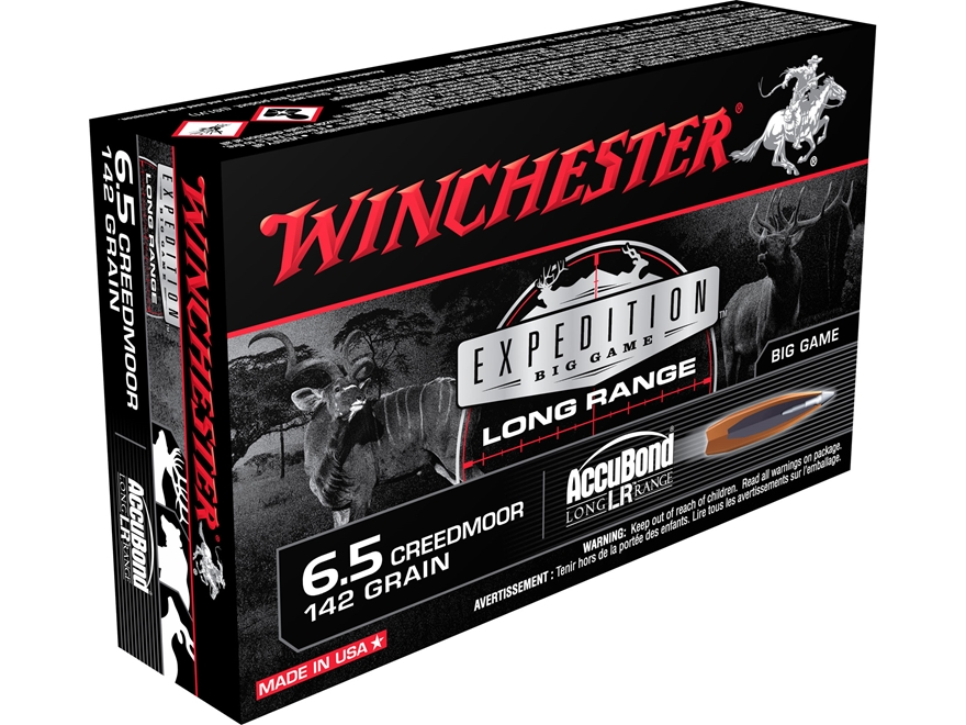 Winchester Expedition Big Game Long Range Ammunition 6.5 Creedmoor 142 Grain Nosler Acc...