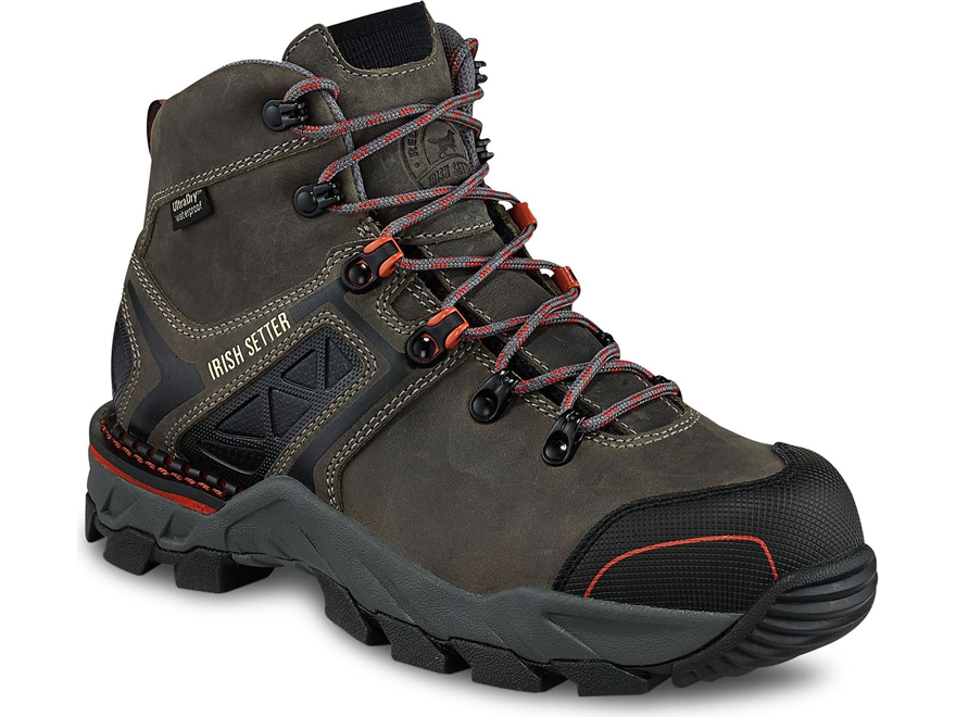 "Irish Setter Crosby 6"" Waterproof Non-Metallic Safety Toe Work Boots Leather/Nylon Gray..."