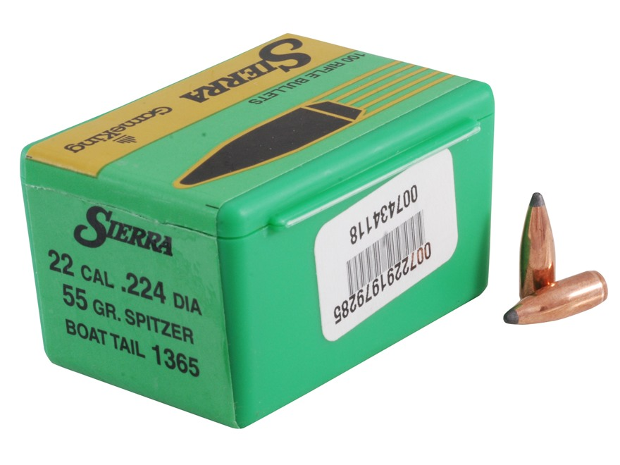 Sierra GameKing Bullets 22 Caliber (224 Diameter) 55 Grain Spitzer Boat Tail Box of 100