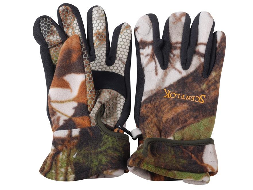 Scent-Lok Bowhunter's Release Gloves Polyester Vertigo Gray Camo Large