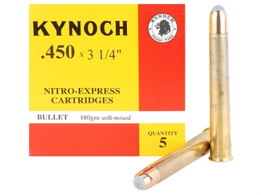"Kynoch Ammunition 450 Nitro Express 3-1/4"" 480 Grain Woodleigh Welded Core Soft Point B..."