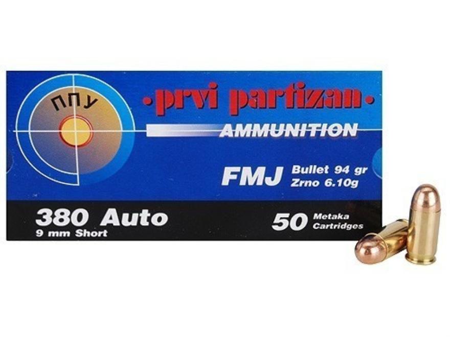 Prvi Partizan Ammunition 380 ACP 94 Grain Full Metal Jacket Box of 50