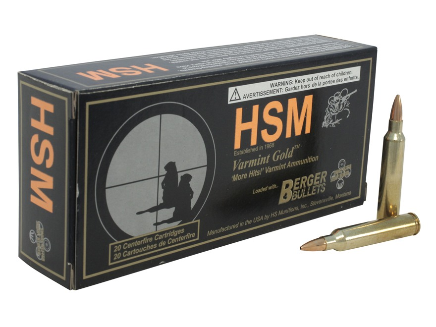 HSM Varmint Gold Ammunition 204 Ruger 35 Grain Berger Varmint Hollow Point Flat Base Bo...